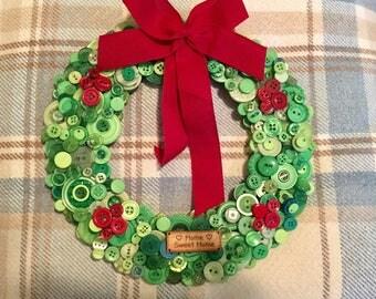 Handmade christmas button wreaths