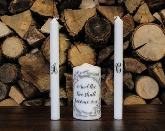 "Wedding Unity Candle Set ""The Two Shall Become One"""