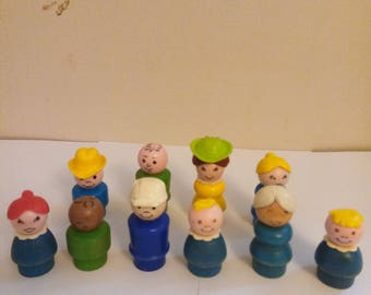 Vintage Lot Of 10 Fisher Price Little People 70's