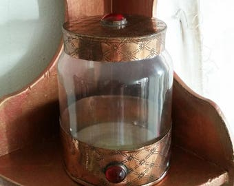 Vintage made in India copper, glass and gemstone apothecary jar