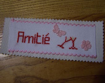 embroidered bookmark friendship color pink