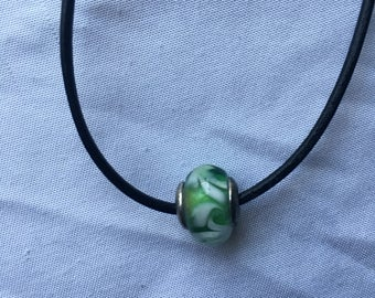 Green & White Bead Chord Necklace