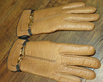 Vintage Women's ARIS Faux Leather Gloves with Lining, Tag Inside