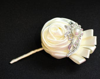 Wedding Boutonniere Brooch Satin Flower Bridal Prom Combo more colors available
