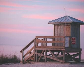 Beach Photography, Large Wall Art, Lifeguard Stand at Sunset, Beach Wall Art, Fine Art Photography - Off Duty
