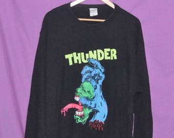 Vintage THUNDER BY Sadam Artwork Japan Japanese Skateboards Skate Punk Sweatshirt Sweater Crewneck