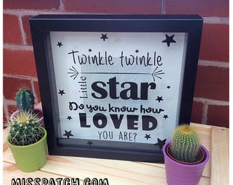 Nursery rhyme shadow box frame, new baby gift, 23x23 cm, twinkle twinkle little star, christening gift, sparkle background, vinyl front,