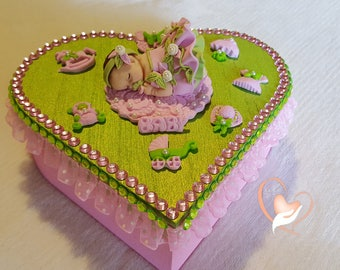 Baby girl pink and green box