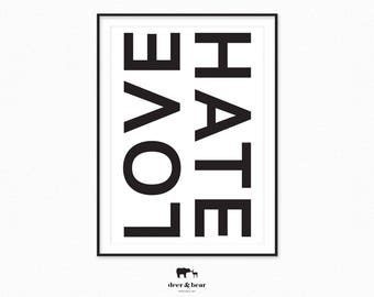 Love Print Typography Poster Black and White Printable Art Instant Download Minimalist Design Scandinavian Wall Decor Chic Large Poster Art