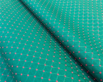 Jacquard fabric Wagner - Argyle fabric - green and pink fabric - upholstery fabric - fabric seats - Nadège fabrics - 1/2 meter