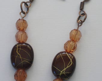 Bead Earrings, aged copper earrings