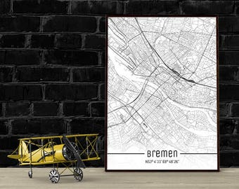 Bremen-Just a map-din A4/A3-Print
