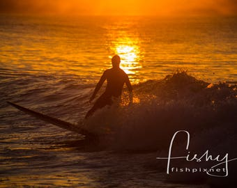 Glistening Surf Sunset Print. Professionally shot limited edition Print. Surf Photography, Surf Images, Surf Sunset, Surfers, Surf Art.
