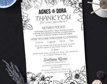 Agnes and Dora Thank You Card, Free Personalize, Care Card, Return Policy Card, 4x6 inches, For Independent Representative