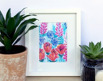 """Hand Painted Abstract Gouache Floral Small 7x5"""" Art Print"""