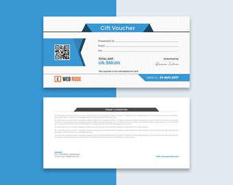 Gift Coupon Certificate Editable Stationary Design Template  for Business uses in Photoshop PSD version Instant Download