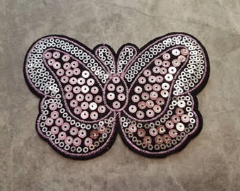 Pink Butterfly Sequin Iron on Applique