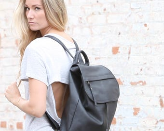 Bata Large Leather Backpack in Black or Taupe Grey Leather