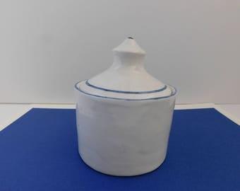 Hopital Haiti covered ceramic pot jar hospital pottery jar Small Jar with Lid Vintage ceramic lidded container