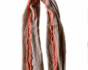 Superb cotton scarf, orange fluo strip