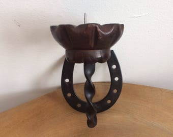 Vintage Spanish Carved Wood & Black Metal 'Horse Shoe' Wall Candle Holder, Sconce - Medieval Gothic Style