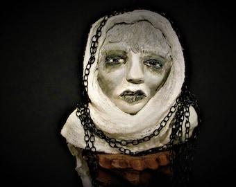 """OOAK Art Doll, """"Ophelia"""", Handmade Art, Ghost Bust by Sherry Harrison"""
