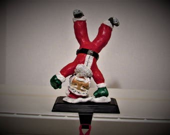 OOAK Art, Santa Stocking Hanger, Handmade Polymer Clay Figurine, by Sherry Harrison