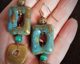 """Ceramic & brass earrings 2"""" (5 cm.) long"""