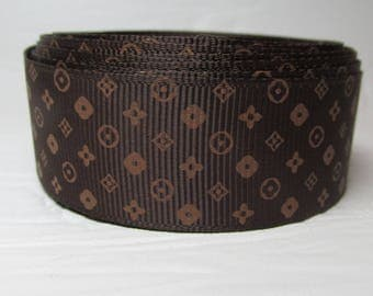 """Grosgrain ribbon 1"""" gold flowers on brown background sold by the yard"""