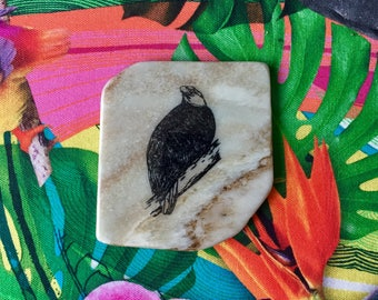 Natural Stone Coaster - Bald Eagle