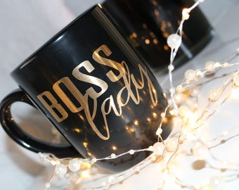Boss Lady Black and Gold Mug, Black Coffee Mug, 12oz mug, Coffee Lover, Mint, Seafoam green, Gift for Coffee lover, customized, Lady Boss