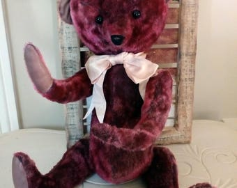 "Collection or decoration in dark pink ""vintage"" mohair bear"