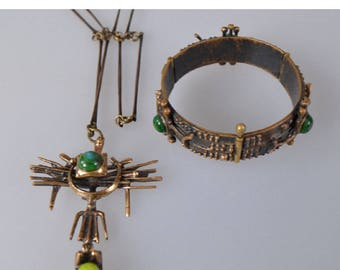 """Rare Collectible vintage costume jewelry sets, bracelet and necklace """"Original fantasy"""" by Peri Jozsef 1960s"""