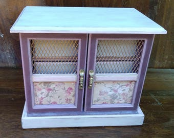 Vintage Jewelry Armoire, Pink Jewelry Box, Upcycled Wooden Jewelry Box, Shabby Chic, sealed with lavender infused wax