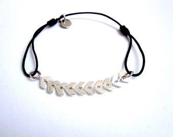 Silver spike cord bracelet