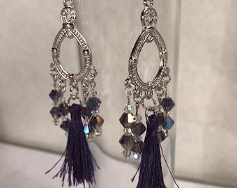 Purple earrings, purple jewelry, chandelier earrings, fancy earrings, beaded earrings, fashion earrings, womens earrings