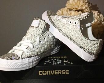 Custom Womens White Wedding Converse Bling And Pearls Sneakers Swarovski Crystal Rhinestone Flat Shoes Bridal