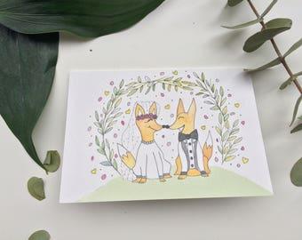 Fox Wedding Card Cute