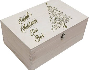 Personalised Wooden Christmas Eve Box For Xmas Children, Kids, Party