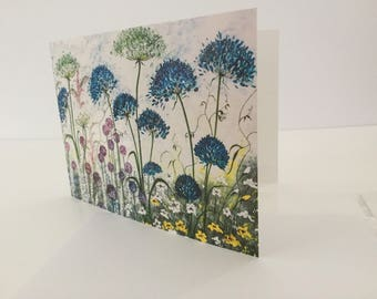 Quality Greetings Cards - Agapanthus, Alliums, Bees and Butterflies.