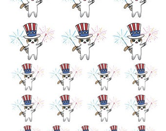 4th of July Mauly - Hand Drawn IttyBitty Kitty Collection - Planner Stickers
