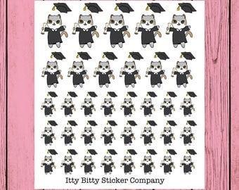Mauly Graduates - Hand Drawn IttyBitty Kitty Collection - Planner Stickers