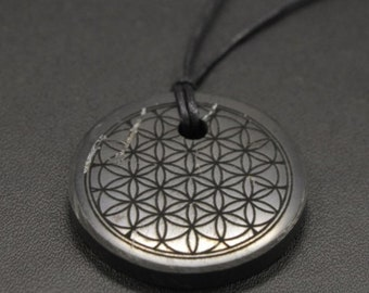 Shungite FLOWER OF LIFE Pendant Necklace Authentic Natural Stone