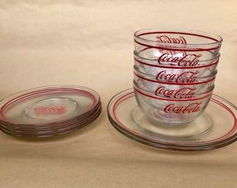 Coca Cola decor, Coca Cola collectibles, Coca Cola plates, Coca Cola bowls, Coca Cola glass, vintage coke decor, vintage Coca Cola, cocacola