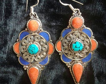 Amazing 70's Hand Made Original Tibetan Coral and Turquoise Silver Ethnic Earrings