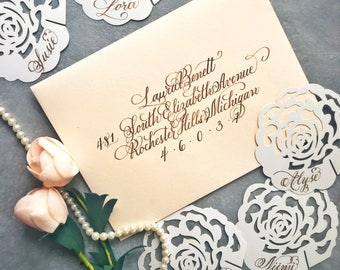 Calligraphy envelope / Wedding calligraphy / Wedding invitation envelope / Elegant luxury wedding / Handwritten / Handlettered envelope