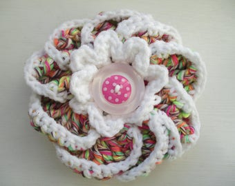 Crochet neon multicolor and white cotton flower brooch