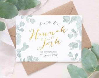 Botanical Eucalyptus save the dates, wedding announcement, leafy save the date, muted green rustic save the date
