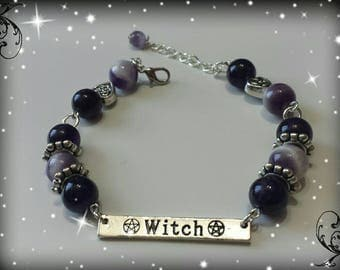 Pagan wiccan witch bracelet with Amethyst jewelry-jewelry-wicca-witch-Paganism-pentacle