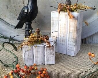 Set of Autumn Wood Floral Pumpkins, Primitive White Pumpkins, White Farmhouse Pumpkins, Distressed Rustic Pumpkins, Fall Wood Pumpkins